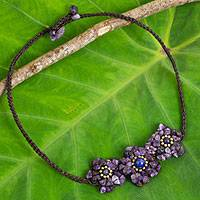 Amethyst and lapis lazuli flower necklace, 'Bearing Blossoms' - Flower Motif Necklace with Amethyst and Lapis Lazuli
