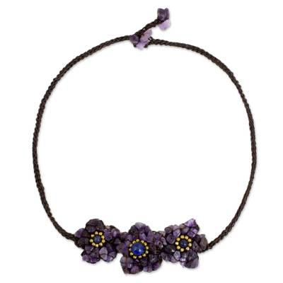 Flower Motif Necklace with Amethyst and Lapis Lazuli