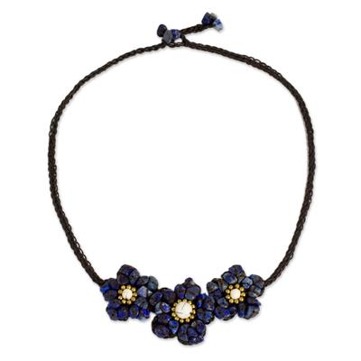 Beaded Lapis Lazuli Pendant Necklace with Flower Theme