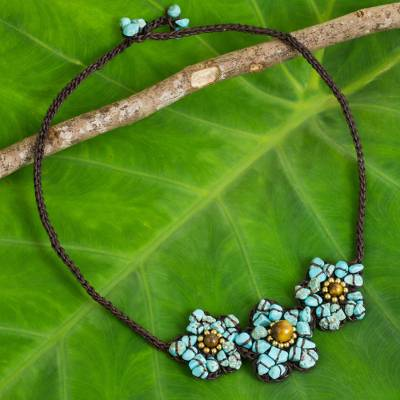 Calcite and tiger's eye flower necklace, 'Bearing Blossoms' - Turquoise coloured Calcite and Tiger's Eye Flower Necklace