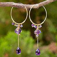 Multi-gemstone gold vermeil hoop earrings, 'Morning Pansies'