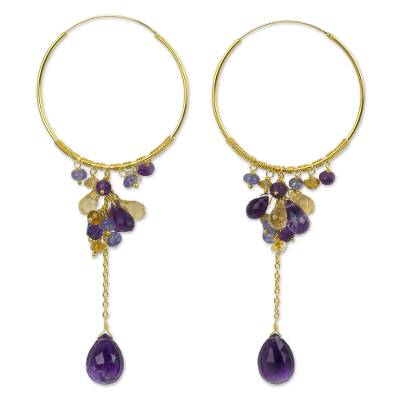 Multi-gemstone gold vermeil hoop earrings, 'Morning Pansies' - 24k Gold Vermeil Hoop Earrings with Amethyst and Tanzanite