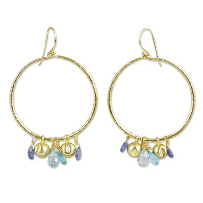 Multi-gemstone gold vermeil dangle earrings, 'Transcendent Blue' - 24k Gold Vermeil Dangle Earrings with Blue Gemstones