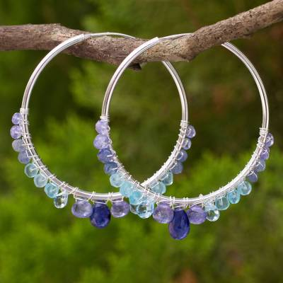 Multi-gemstone hoop earrings, 'Following Sea' - Continuous Hoop Earrings in Silver with Blue Gemstones