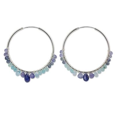 Continuous Hoop Earrings in Silver with Blue Gemstones
