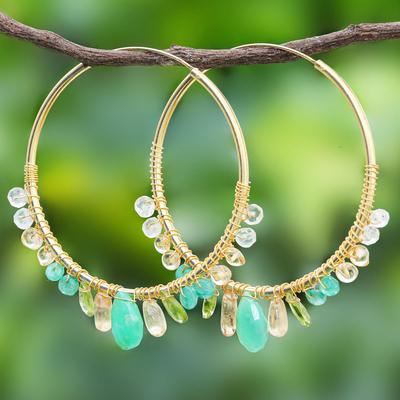 Multi-gemstone gold vermeil hoop earrings, 'Spring Serenade' - Gold Plated Hoop Earrings with Assorted Green Gemstones