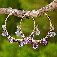 Multi-gemstone gold vermeil hoop earrings, 'Lilac Serenade' - Continuous Hoop Earrings in Gold Vermeil with Gemstones
