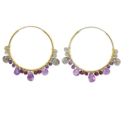Multi-gemstone gold vermeil hoop earrings, 'Lilac Serenade' - Continuous Hoop Earrings in Gold Vermeil with Gemstones