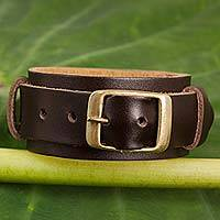 Leather wristband bracelet, 'Buckle Up Brown' - Brown Leather Women's Wristband Bracelet with Brass Buckle