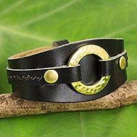 Leather wristband bracelet, 'Carefree in Black' - Women's Black Leather Bracelet with Brass Rings and Studs