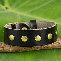 Leather wristband bracelet, 'Walk on Black' - Smooth Black Wristband Bracelet with Brass Studs