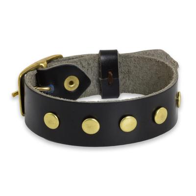 Smooth Black Wristband Bracelet with Brass Studs