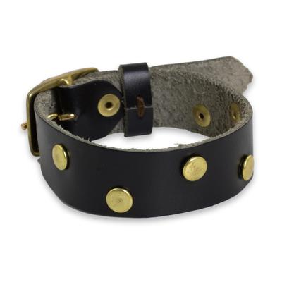 Brass Studded Womens Leather Bracelet in Black