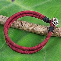 Silver accent silk cord bracelet, 'Red Karen Blossom' - Artisan Crafted Red Silk Bracelet with Hill Tribe Silver