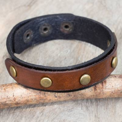 Leather wristband bracelet, 'Rustic Elements' - Brown and Black Leather Wristband Bracelet from Thailand