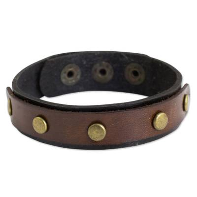 Brown and Black Leather Wristband Bracelet from Thailand