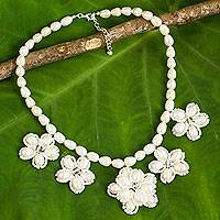 Cultured pearl flower necklace, 'Pure Chrysanthemum' - Thai Flower Pendant Necklace with Pearls and Glass Beads