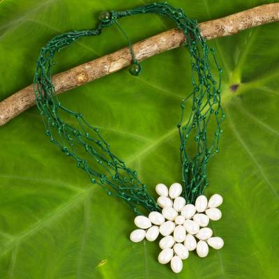 Cultured pearl flower pendant necklace, 'Blossoming Vine' - Cultured Pearl Flower Pendant Necklace on Green Cords