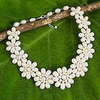 Cultured pearl flower necklace, 'Chrysanthemum Garden'