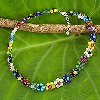 Multi-gemstone flower necklace, 'Rainbow Blooms'
