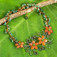 Carnelian beaded flower necklace, 'Sunset Bloom' - Carnelian and Aventurine Beaded Flower Gemstone Necklace