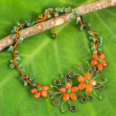 Carnelian beaded flower necklace, 'Sunset Bloom' - Carnelian and Aventurine Beaded Flower Gemstone Necklace