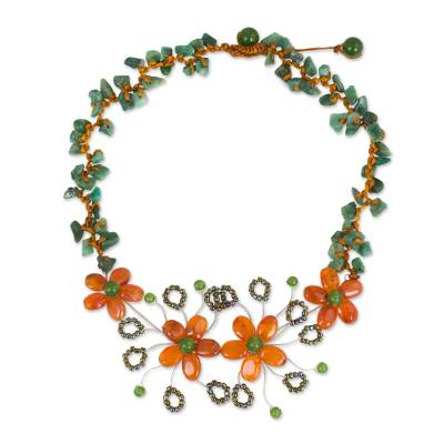 Carnelian and Aventurine Beaded Flower Gemstone Necklace