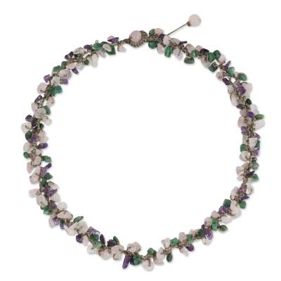 Beaded Necklace with Rose Quartz and Amethyst