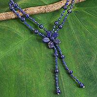 Lapis lazuli beaded pendant choker, 'Summer Nights'