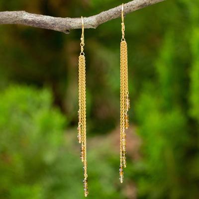 Novica Vermeil yellow sapphire waterfall earrings, Natures Power