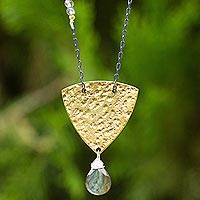 Gold plated labradorite pendant necklace, 'Ancient Ways' - Modern Design Women's Pendant Necklace with Labradorite