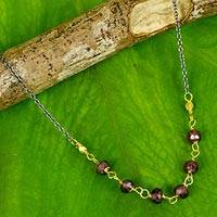 Gold vermeil garnet beaded necklace, 'Dreams Come True' - Vermeil Garnet and Silver Necklace Handcrafted in Thailand