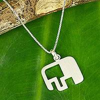 Sterling silver pendant necklace, 'Elephant Geometry' - Artisan Crafted Silver Elephant Necklace from Thailand
