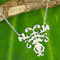Sterling silver pendant necklace, 'Delicate Grace'