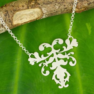 Sterling silver pendant necklace, 'Delicate Grace' - Brushed Sterling Silver Pendant Necklace from Thai Artisan