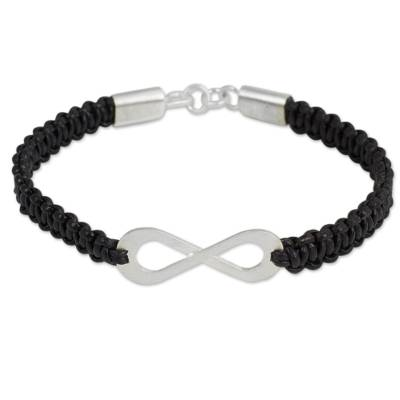 Black Leather Macrame Bracelet with Silver Infinity Pendant