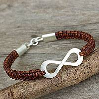 Leather and sterling silver bracelet, 'Infinite Joy in Brown' - Infinity Symbol Pendant Bracelet on Brown Leather Macrame