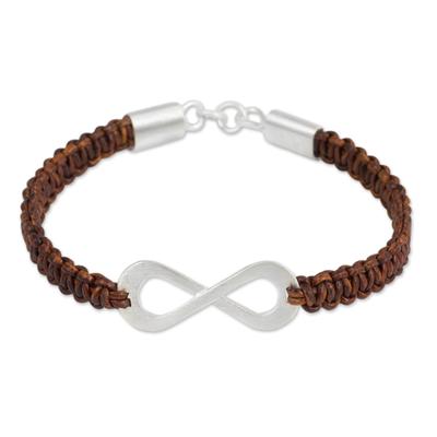Leather and sterling silver bracelet, 'Infinite Joy in Brown' - Infinity Symbol Pendant Bracelet on Brown Leather Macrame