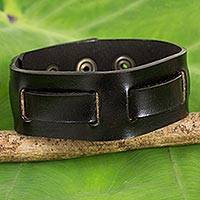 Men's leather wristband bracelet, 'Journey in Black' - Men's Black Leather Wristband Bracelet Crafted by Hand