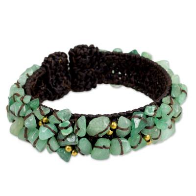 Handcrafted Green Quartz Crocheted Cuff Bracelet