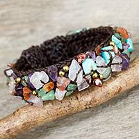 Multi-gemstone cuff bracelet, 'Colorful Day' - Fair Trade Multi Gemstone Beaded Crocheted Cuff Bracelet