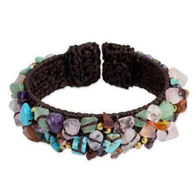 Fair Trade Multi Gemstone Beaded Crocheted Cuff Bracelet