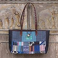 Leather accent cotton shoulder bag, 'Blue Congregation' - Thailand Blue Hill Tribe Patchwork Art Shoulder Bag
