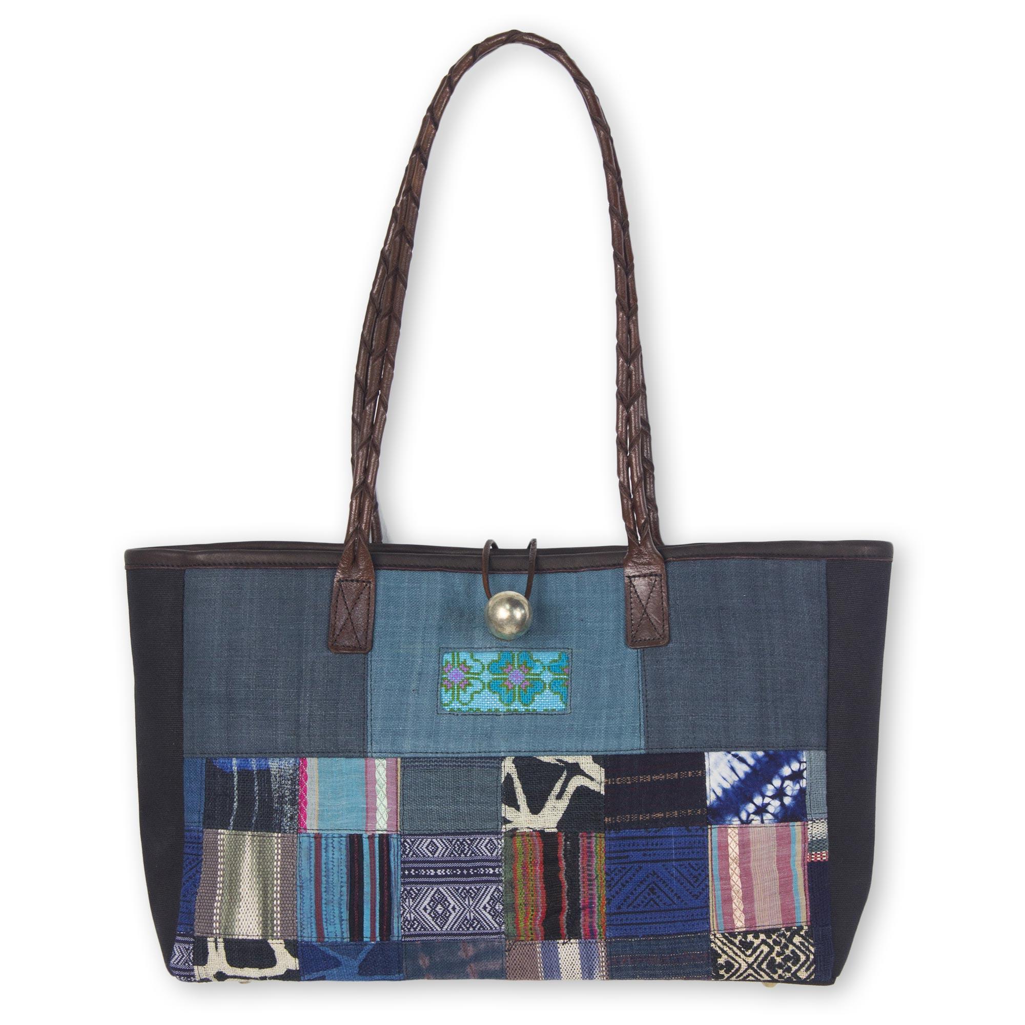 Novica Leather shoulder bag, Ocean Blue