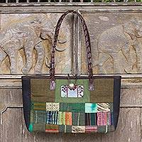 Leather accented cotton shoulder bag, 'Green Congregation' - Thailand Green Patchwork Leather Trim Shoulder Bag