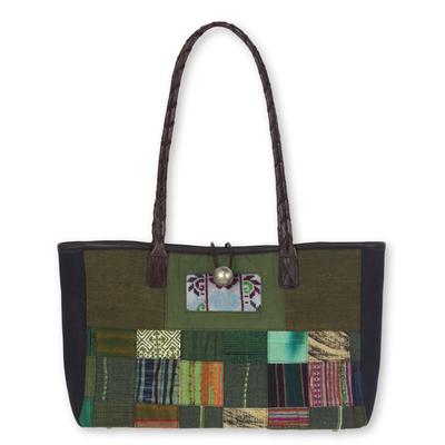 Leather accented cotton shoulder bag, 'Green Congregation' - Thailand Green Patchwork Leather Trim Shoulder Bag