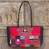 Leather accented cotton shoulder bag, 'Crimson Congregation' - Thai Handcrafted Red Applique Shoulder Bag with Leather Trim