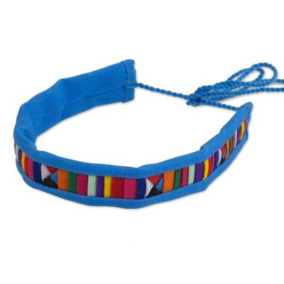 Blue and Multicolor Hill Tribe Cotton Blend Bracelet