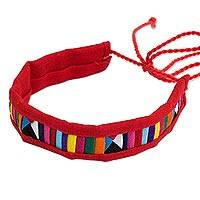 Cotton blend bracelet, 'Tribal Friendship in Red' - Polyester and Cotton Blend Multicolored Unisex Bracelet