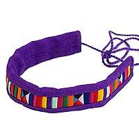 Cotton blend bracelet, 'Tribal Friendship in Purple' - Multicolored Fabric Bracelet with Hill Tribe Motifs